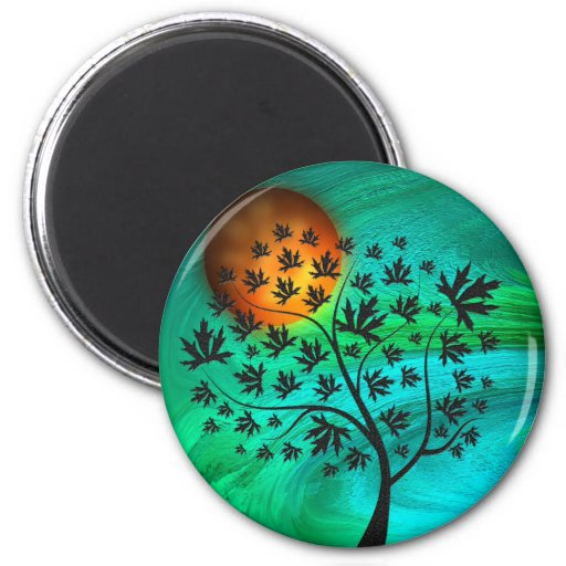Autumn Tree and Harvest Moon Refrigerator Magnets