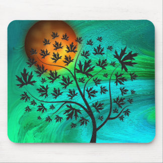 Autumn Tree and Harvest Moon Mouse Pad