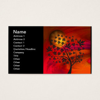 Autumn Tree and Moon Abstract Art Business Card