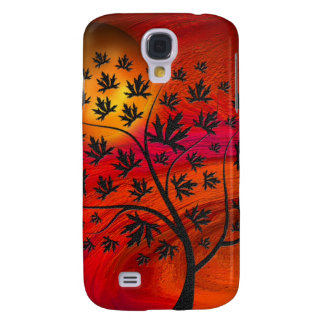 Autumn Tree and Moon Abstract Art Samsung Galaxy S4 Cases