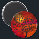 """Autumn Tree and Moon Abstract Art Magnet<br><div class=""""desc"""">A vibrant sky and an autumn tree and moon... digital abstract art.</div>"""