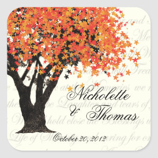 Autumn Tree Dancing Blooms Square Sticker