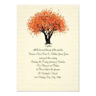 Autumn Tree Dancing Blooms Wedding 5x7 Paper Invitation Card