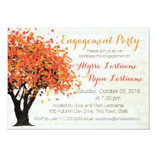 Autumn Tree Engagement Party 5x7 Paper Invitation Card