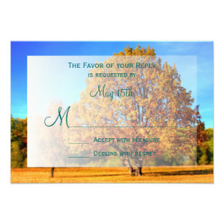 Autumn Tree Falling Leaves Fall Wedding RSVP Cards