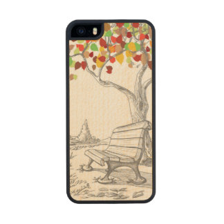 Autumn Tree, Falling Leaves Wood iPhone SE/5/5s Case