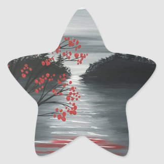 Autumn Tree in Moonlight Star Sticker