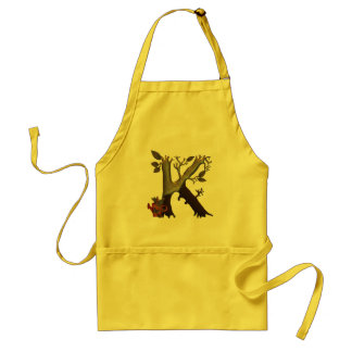 Autumn Tree Monogram K Adult Apron