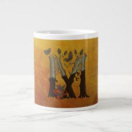 Autumn Tree Monogram M Large Coffee Mug