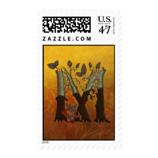 Autumn Tree Monogram M Postage