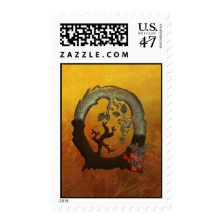 Autumn Tree Monogram O Postage