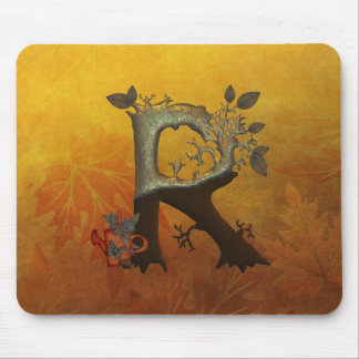 Autumn Tree Monogram R Mouse Pad
