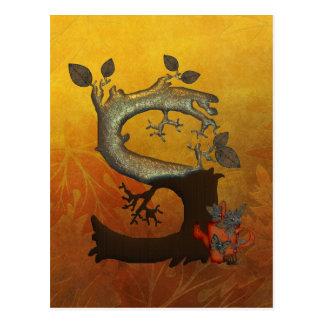 Autumn Tree Monogram S Postcard