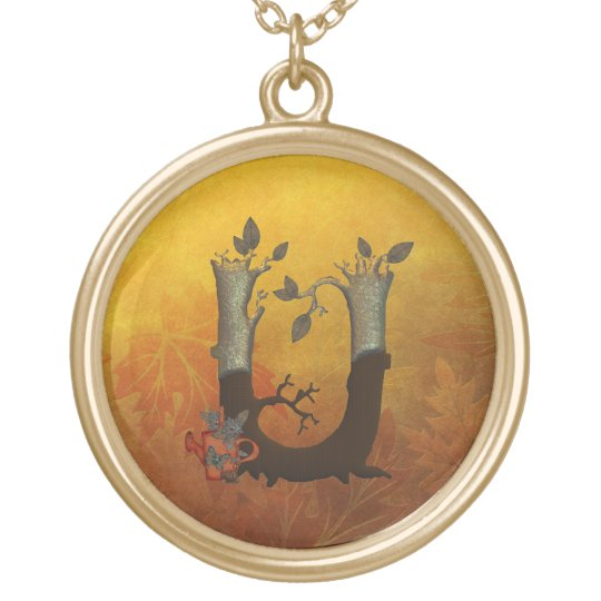 Autumn Tree Monogram U Gold Plated Necklace