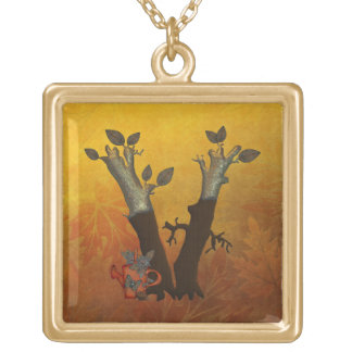 Autumn Tree Monogram V Gold Plated Necklace