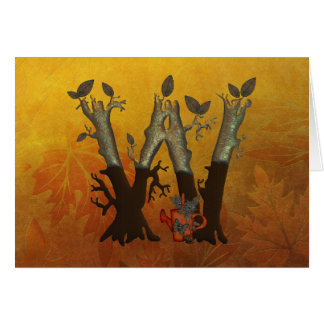 Autumn Tree Monogram W Card