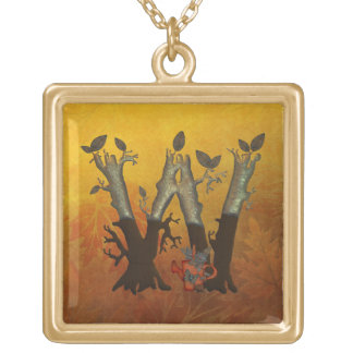 Autumn Tree Monogram W Gold Plated Necklace