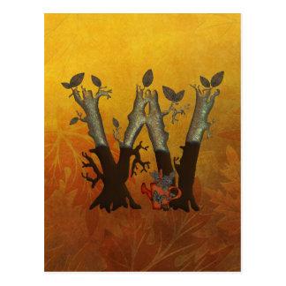 Autumn Tree Monogram W Postcard
