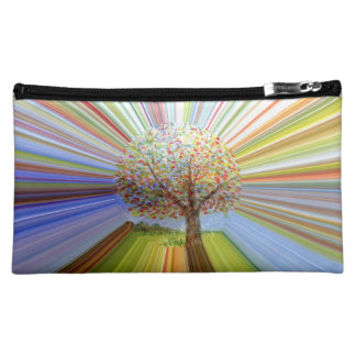 Autumn Tree Multicolored Stripes Cosmetic Bag