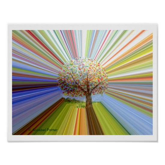 Autumn Tree Multicolored Stripes Poster