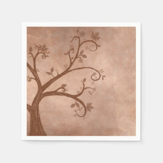 Autumn Tree on Distressed Background Paper Napkin