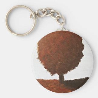 Autumn Tree Painting Basic Round Button Keychain