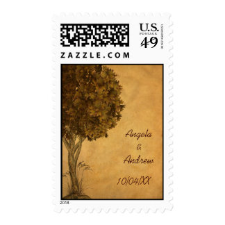 Autumn Tree Parchment-Look Postage