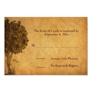 Autumn Tree Parchment-look RSVP Card