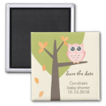 Autumn Tree Pink Owl Baby Shower Save the Date 2 Inch Square Magnet