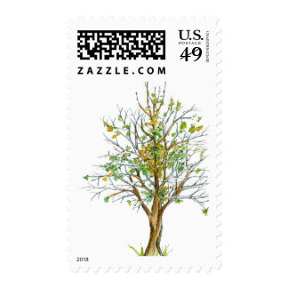 Autumn Tree Postage Stamps Pen and Ink Drawing