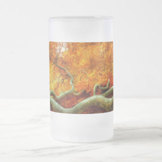 Autumn - Tree - Serpentine Frosted Glass Beer Mug