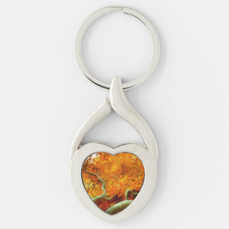 Autumn - Tree - Serpentine Silver-Colored Heart-Shaped Metal Keychain