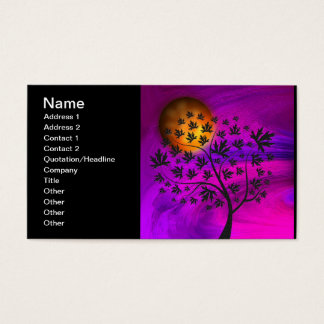 Autumn Tree Silhouette Abstract Art Business Card