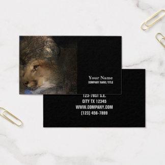 Autumn tree silhouette mountain lion wild cougar business card