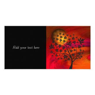 Autumn Tree Silhouette Painting Photo Card