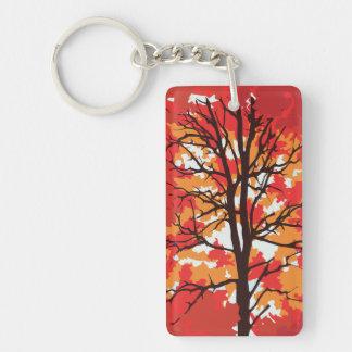 Autumn Tree Single-Sided Rectangular Acrylic Keychain