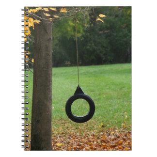 Autumn tree tire swing spiral notebook