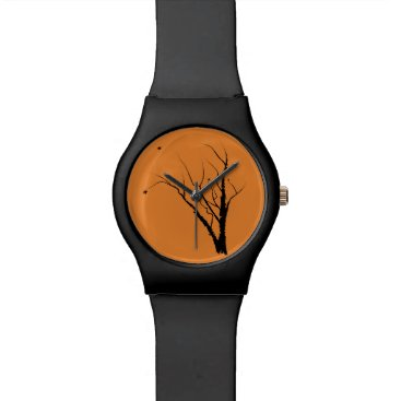 Halloween Themed Autumn Tree Watch Black and Orange