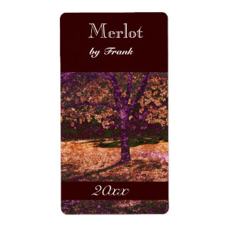 autumn tree  wine bottle label