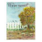 Autumn Tree with Birds Watercolor Moving Postcard