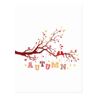 autumn tree with colorful falling leaves and birds postcard