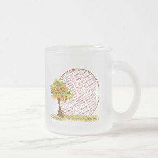 Autumn Tree with Falling Leaves Photo Frame 10 Oz Frosted Glass Coffee Mug