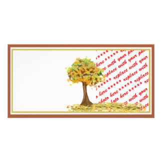 Autumn Tree with Falling Leaves Photo Frame Photo Card Template