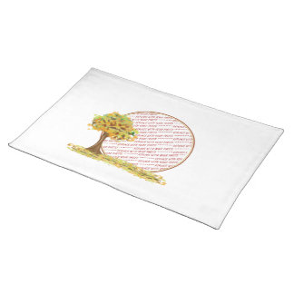 Autumn Tree with Falling Leaves Photo Frame Cloth Placemat