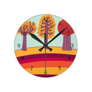 Autumn Trees And Bird Round Clock