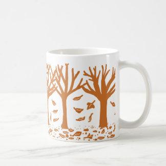 Autumn trees and leaves silhouette mug