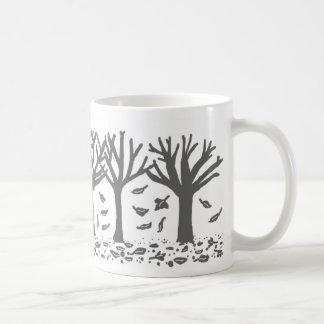 Autumn trees and leaves silhouette mug (black)
