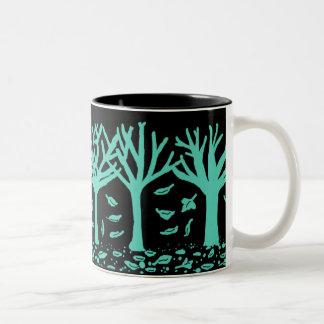 Autumn trees and leaves silhouette mug (teal)