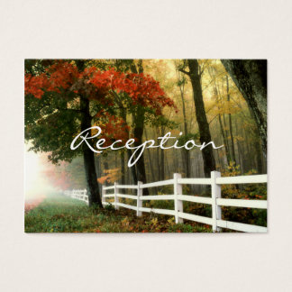Autumn Trees Fall Fence Wedding Reception Cards