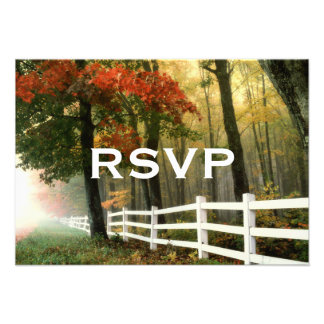 Autumn Trees Fall Leaves Fence Wedding RSVP Cards